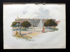 Cassell 1902 Antique Print. Hampton Court, East Front
